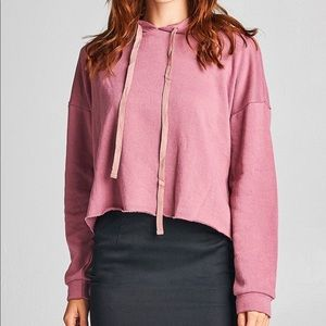 Tops - Rose French Terry Cropped Hoodie